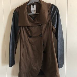 Soia & Kyo Real Leather Sleeved Trench Coat